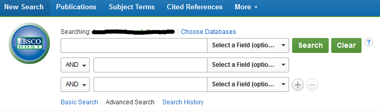 screenshot of EBSCOhost logo and standard search boxes