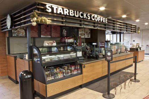 A Starbucks Coffee shop resides inside the Newton Gresham Library