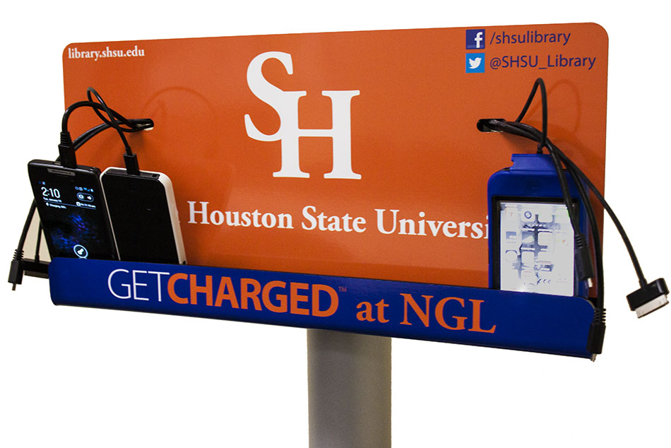 Mobile device charging station located in the Newton Gresham Library