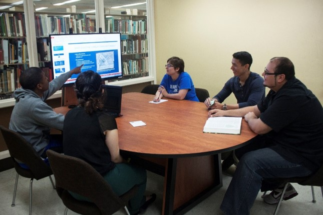 Student group using a collaboration table