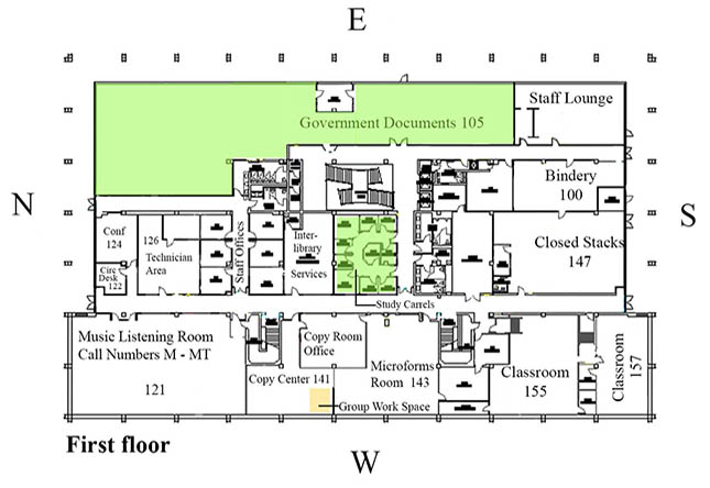 Color-coded map of study spaces on the first floor