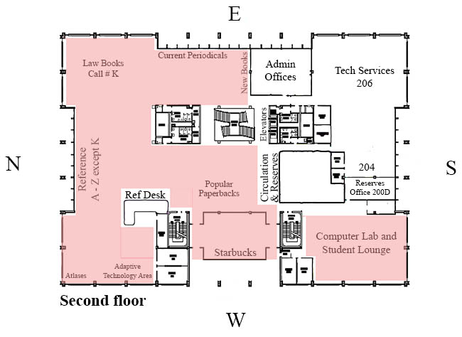 Color-coded map of study spaces on the second floor