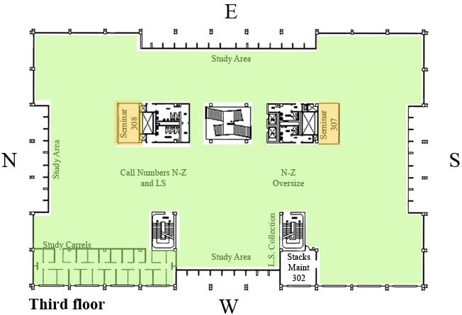 Color-coded map of study spaces on the third floor