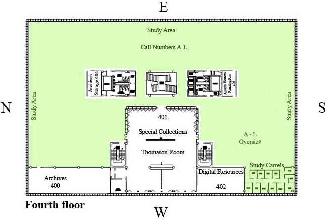Color-coded map of study spaces on the fourth floor