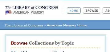 The American Memory Project digital archive website