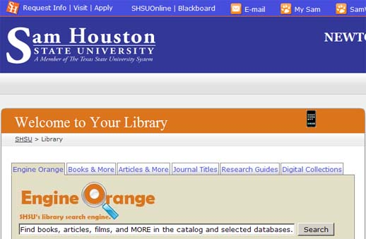 Screenshot of Engine Orange on the library homepage