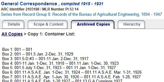 Simple container list which briefly describes the contents of each box in an archive collection