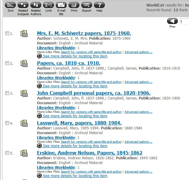 Search results for archival materials in WorldCat