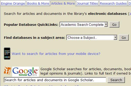 Screenshot of Google Scholar search box on library homepage